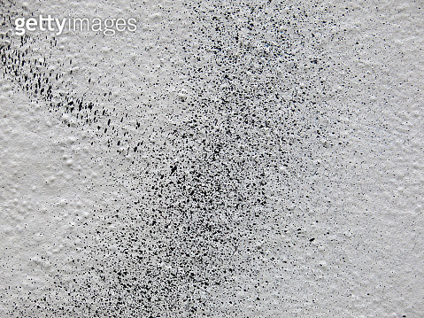 Close-up of splashing of black paint on a white wall in Paris - gettyimageskorea