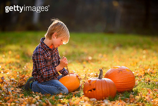 Boy carving a Halloween pumpkin in the garden, United States - gettyimageskorea