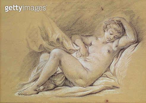 <b>Title</b> : Nude Woman on a Bed (charcoal & white chalk on paper)Additional InfoFemme nue couchee sur un lit;<br><b>Medium</b> : charcoal and white chalk on paper<br><b>Location</b> : Musee des Beaux-Arts et d'Archeologie, Besancon, France<br> - gettyimageskorea