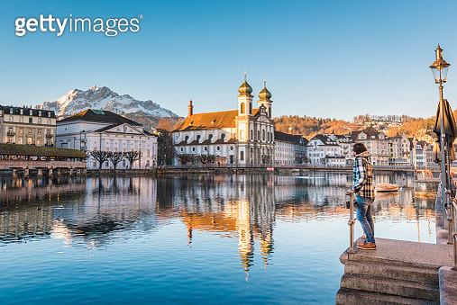 Tourist admiring the view in Lucerne, Switzerland - gettyimageskorea