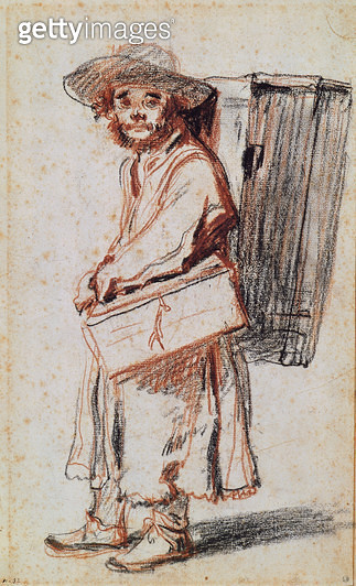 <b>Title</b> : Study of a Pedlar from the Auvergne (charcoal & red chalk on paper)<br><b>Medium</b> : charcoal and red chalk on paper<br><b>Location</b> : Musee Bonnat, Bayonne, France<br> - gettyimageskorea