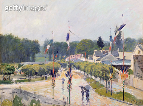<b>Title</b> : Fourteenth of July at Marly-le-Roi, 1875<br><b>Medium</b> : oil on canvas<br><b>Location</b> : Cecil Higgins Art Gallery, Bedford, Bedfordshire, UK<br> - gettyimageskorea