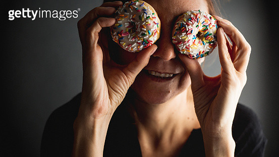 Woman With Donut Eyes - gettyimageskorea