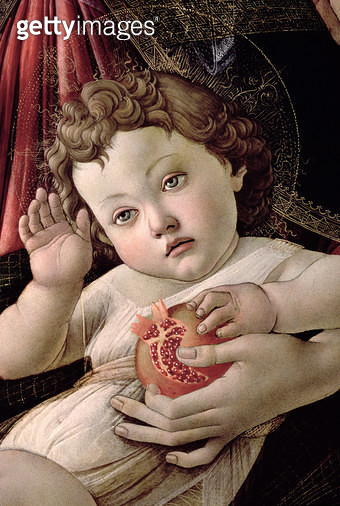 <b>Title</b> : Detail of the Christ Child from the Madonna of the Pomegranate (tempera on panel) (see 44340)<br><b>Medium</b> : <br><b>Location</b> : Galleria degli Uffizi, Florence, Italy<br> - gettyimageskorea