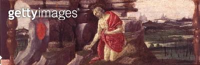 <b>Title</b> : St Jerome in Penitence, predella panel from the Altarpiece of St Mark, c.1488-90 (tempera on panel) (see 44333, 44348, 44331, 13<br><b>Medium</b> : tempera on panel<br><b>Location</b> : Galleria degli Uffizi, Florence, Italy<br> - gettyimageskorea