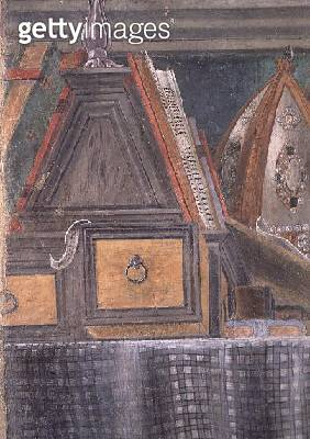 <b>Title</b> : Detail from St. Augustine in his Cell, c.1480 (fresco) (detail of 29143)<br><b>Medium</b> : fresco<br><b>Location</b> : Ognissanti, Florence, Italy<br> - gettyimageskorea