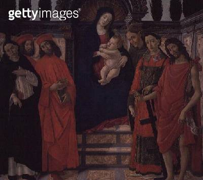 <b>Title</b> : The Virgin and Child with St. John the Baptist, St. Damian and St. Cosmo<br><b>Medium</b> : oil on panel<br><b>Location</b> : Galleria degli Uffizi, Florence, Italy<br> - gettyimageskorea