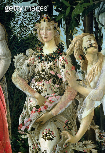 <b>Title</b> : Detail of Flora as the Hour of Spring, from the Primavera (tempera on panel) (detail of 558)<br><b>Medium</b> : <br><b>Location</b> : Galleria degli Uffizi, Florence, Italy<br> - gettyimageskorea
