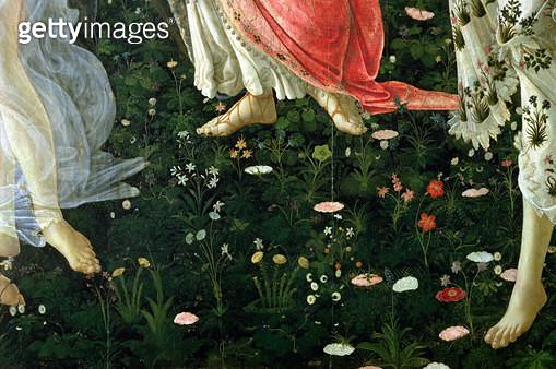 Primavera: detail of flowers (tempera on panel) - gettyimageskorea