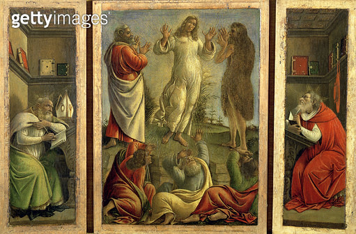 Triptych showing the Transfiguration/ Jesus Appearing to his Disciples with Saints Jerome and Augustine on the side panels/ c.1500 (tempera on panel) - gettyimageskorea
