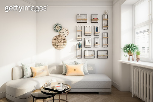 Digitally generated warm and cozy affordable Scandinavian style home interior (living room) design.  The scene was rendered with photorealistic shaders and lighting in Autodesk® 3ds Max 2020 with V-Ray Next with some post-production added. - gettyimageskorea