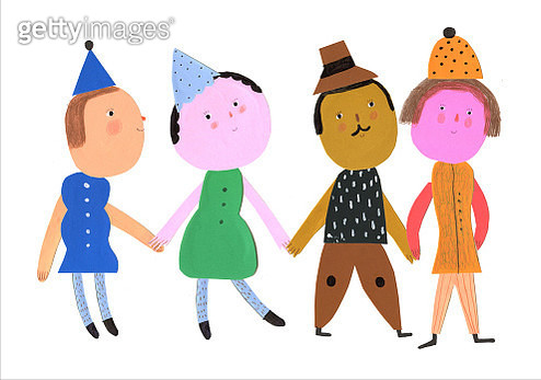 4 funny characters, holding hands, horizontal illustration - gettyimageskorea