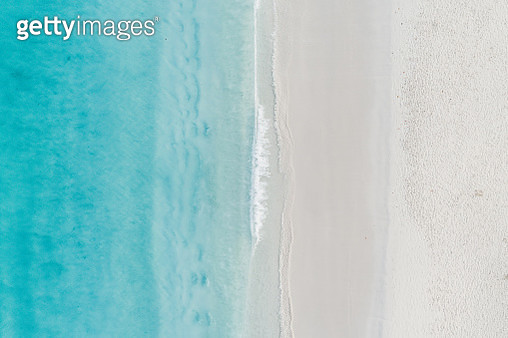Tranquil aerial shot of the ocean and a beach, Barbados - gettyimageskorea