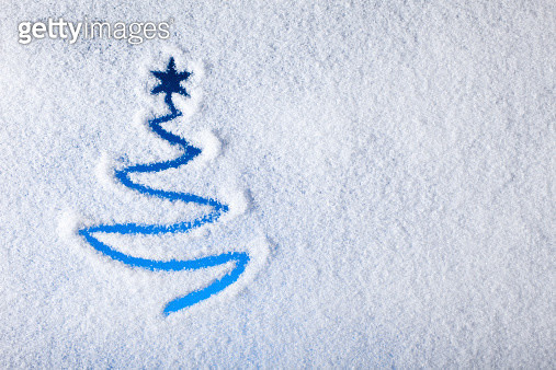 Painted christmas tree on snow - Background Winter Window - gettyimageskorea