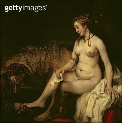 <b>Title</b> : Bathsheba Bathing, 1654 (oil on canvas) (see 220594 for detail)<br><b>Medium</b> : oil on canvas<br><b>Location</b> : Louvre, Paris, France<br> - gettyimageskorea