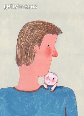 Father holding a tiny baby, vertical illustration - gettyimageskorea