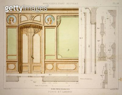 <b>Title</b> : Door and skirting, illustration from 'Menuiserie d'Art Nouveau' published c.1900 (colour litho)<br><b>Medium</b> : colour lithograph<br><b>Location</b> : Private Collection<br> - gettyimageskorea