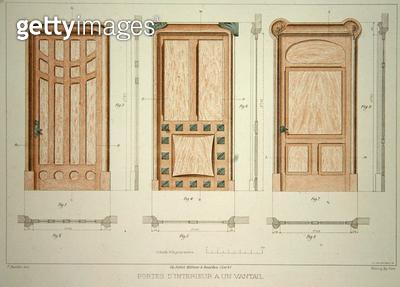 <b>Title</b> : Designs for doors, illustration from 'Menuiserie d'Art Nouveau' published c.1900 (colour litho)<br><b>Medium</b> : colour lithograph<br><b>Location</b> : Private Collection<br> - gettyimageskorea