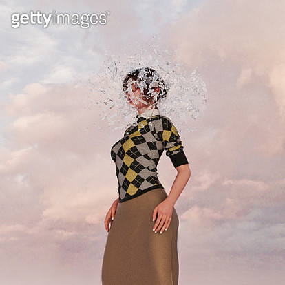 Shards surrounding face of woman - gettyimageskorea