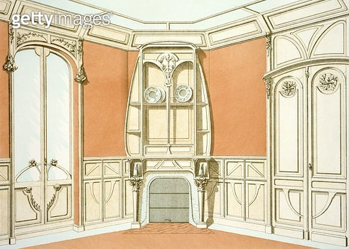 <b>Title</b> : Interior design for a dining room, illustration from 'Menuiserie d'Art Nouveau' published c.1900 (colour litho)<br><b>Medium</b> : colour lithograph<br><b>Location</b> : Private Collection<br> - gettyimageskorea