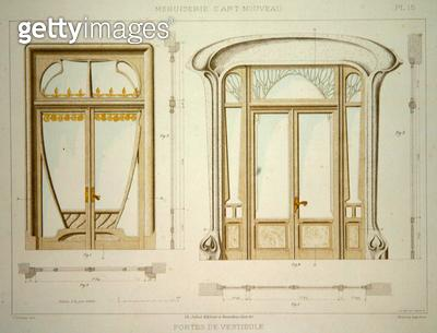 <b>Title</b> : Designs for hall doors, illustration from 'Menuiserie d'Art Nouveau' published c.1900 (colour litho)<br><b>Medium</b> : colour lithograph<br><b>Location</b> : Private Collection<br> - gettyimageskorea