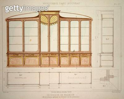 <b>Title</b> : Design for a shop display cabinet, illustration from 'Menuiserie d'Art Nouveau' published c.1900 (colour litho)<br><b>Medium</b> : colour lithograph<br><b>Location</b> : Private Collection<br> - gettyimageskorea