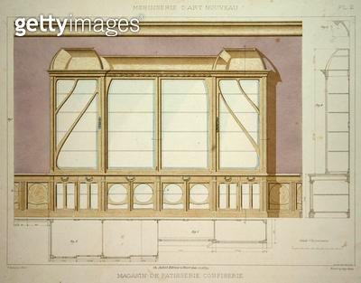 <b>Title</b> : Design for a pastry shop display cabinet, illustration from 'Menuiserie d'Art Nouveau' published c.1900 (colour litho)<br><b>Medium</b> : colour lithograph<br><b>Location</b> : Private Collection<br> - gettyimageskorea