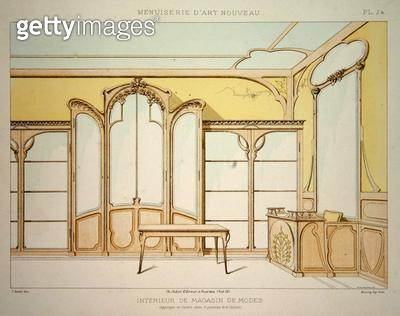 <b>Title</b> : Interior design for a fashion shop, illustration from 'Menuiserie d'Art Nouveau' published c.1900 (colour litho)<br><b>Medium</b> : colour lithograph<br><b>Location</b> : Private Collection<br> - gettyimageskorea
