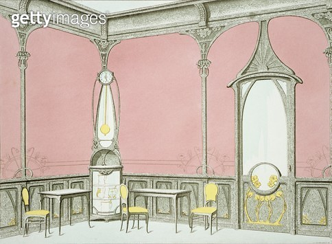 <b>Title</b> : Interior design for a brasserie, illustration from 'Menuiserie d'Art Nouveau' published c.1900 (colour litho)<br><b>Medium</b> : <br><b>Location</b> : Private Collection<br> - gettyimageskorea