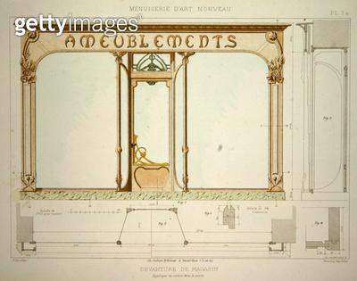 <b>Title</b> : Design for a shop front, illustration from 'Menuiserie d'Art Nouveau' published c.1900 (colour litho)<br><b>Medium</b> : colour lithograph<br><b>Location</b> : Private Collection<br> - gettyimageskorea