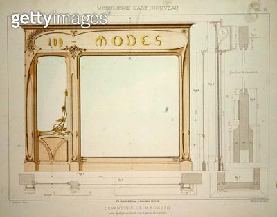 <b>Title</b> : Design for a fashion shop front, illustration from 'Menuiserie d'Art Nouveau' published c.1900 (colour litho)<br><b>Medium</b> : colour lithograph<br><b>Location</b> : Private Collection<br> - gettyimageskorea