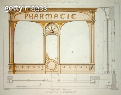<b>Title</b> : Design for a pharmacy shop front, illustration from 'Menuiserie d'Art Nouveau' published c.1900 (colour litho)<br><b>Medium</b> : colour lithograph<br><b>Location</b> : Private Collection<br> - gettyimageskorea