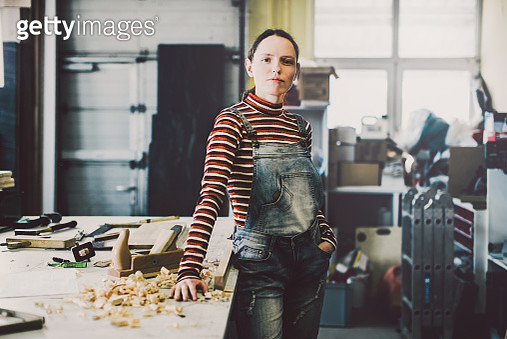 Proud young female entrepreneur in modern carpentry. - gettyimageskorea