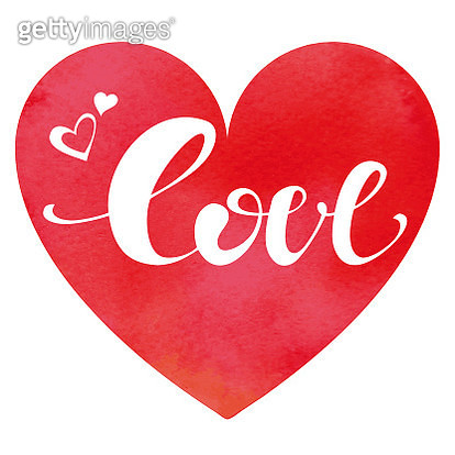 Watercolor heart background with Love inscription on it - gettyimageskorea
