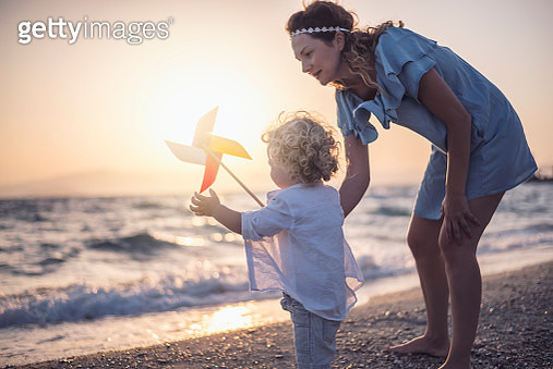 Mother and son at the beach - gettyimageskorea