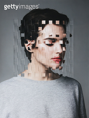 Female portrait with collaged face parts - gettyimageskorea