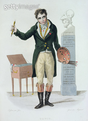 <b>Title</b> : Jacques Louis David (1771-1835), illustration for 'Le Plutarque Francais' by E. Mennechet, 1835 (colour engraving)<br><b>Medium</b> : colour engraving<br><b>Location</b> : Bibliotheque des Arts Decoratifs, Paris, France<br> - gettyimageskorea