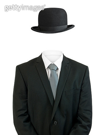 Business man invisible with black bowler hat - gettyimageskorea