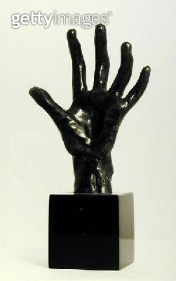<b>Title</b> : The Hand, cast by Georges Rudier, Paris (bronze) (b/w photo)<br><b>Medium</b> : bronze<br><b>Location</b> : Private Collection<br> - gettyimageskorea