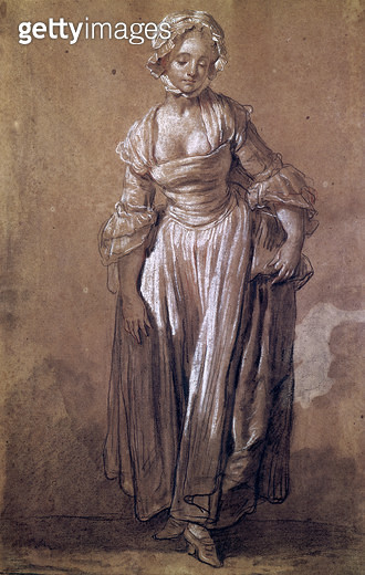 <b>Title</b> : Standing Young Girl, study for 'The Village Agreement' (charcoal & white chalk on paper)<br><b>Medium</b> : charcoal and white chalk on paper<br><b>Location</b> : Musee Denon, Chalon-sur-Saone, France<br> - gettyimageskorea