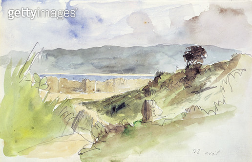 <b>Title</b> : Ms 390/1450 fol.41 Landscape with Town Walls, from 'Carnet du Maroc', 23rd April 1832 (w/c on paper)Additional Infopaysage avec<br><b>Medium</b> : watercolour on paper<br><b>Location</b> : Musee Conde, Chantilly, France<br> - gettyimageskorea