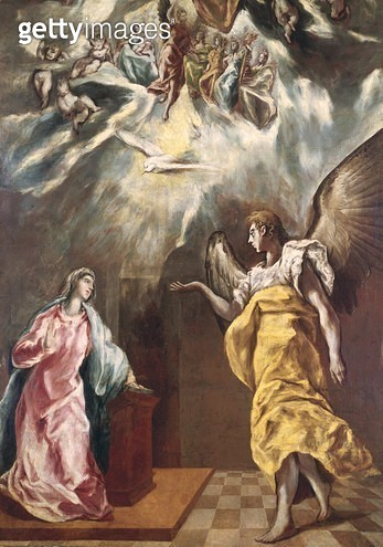 <b>Title</b> : The Annunciation (oil on canvas)<br><b>Medium</b> : <br><b>Location</b> : Private Collection<br> - gettyimageskorea