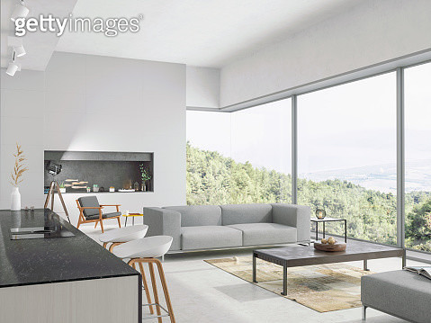 Modern living room and kitchen interior with nature view - gettyimageskorea
