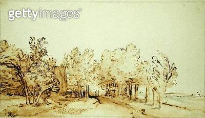 <b>Title</b> : Avenue with a footpath and a farmhouse on the left (pen and brown ink and brush on paper)<br><b>Medium</b> : pen and brown ink and brush on paper<br><b>Location</b> : Hamburger Kunsthalle, Hamburg, Germany<br> - gettyimageskorea