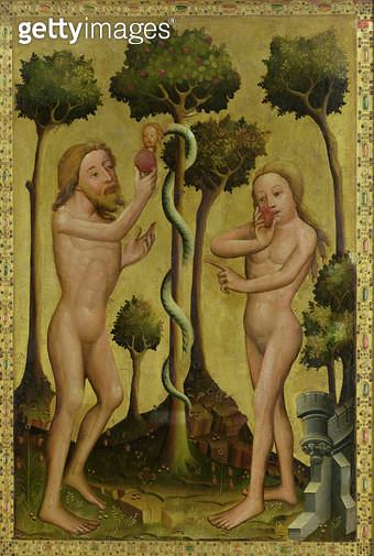 <b>Title</b> : The Fall, detail from the Grabow Altarpiece, 1379-83 (tempera on panel)<br><b>Medium</b> : tempera on panel<br><b>Location</b> : Hamburger Kunsthalle, Hamburg, Germany<br> - gettyimageskorea