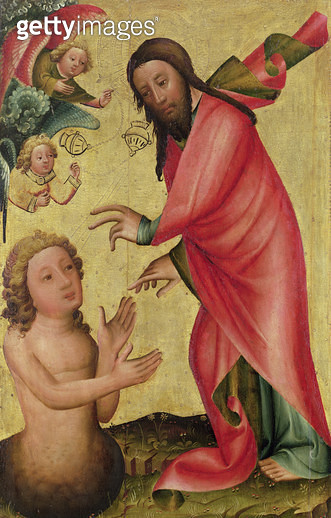 <b>Title</b> : The Creation of Adam, detail from the Grabow Altarpiece, 1379-83 (tempera on panel)<br><b>Medium</b> : tempera on panel<br><b>Location</b> : Hamburger Kunsthalle, Hamburg, Germany<br> - gettyimageskorea