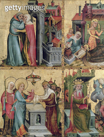 <b>Title</b> : Meeting at the Golden Gate and the Presentation in the Temple, from the Buxtehude Altar, 1400-10 (tempera on panel)<br><b>Medium</b> : tempera on panel<br><b>Location</b> : Hamburger Kunsthalle, Hamburg, Germany<br> - gettyimageskorea