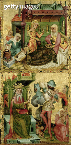<b>Title</b> : Nativity of the Virgin and the Massacre of the Innocents, from the Buxtehude Altar, 1400-10 (tempera on panel)<br><b>Medium</b> : tempera on panel<br><b>Location</b> : Hamburger Kunsthalle, Hamburg, Germany<br> - gettyimageskorea