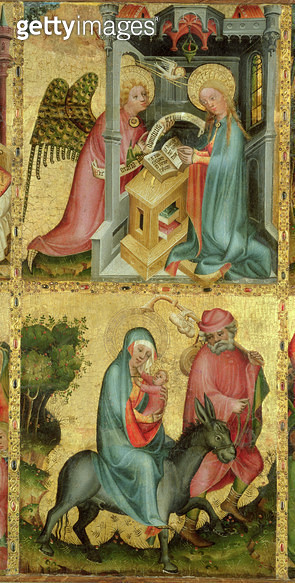 <b>Title</b> : The Annunciation and the Flight into Egypt, from the Buxtehude Altar, 1400-10 (tempera on panel)<br><b>Medium</b> : tempera on panel<br><b>Location</b> : Hamburger Kunsthalle, Hamburg, Germany<br> - gettyimageskorea
