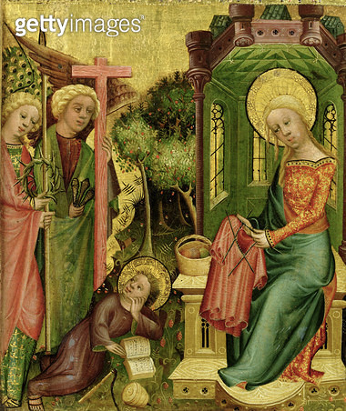 <b>Title</b> : Visit of the Angel, from the right wing of the Buxtehude Altar, 1400-10 (tempera on panel)<br><b>Medium</b> : tempera on panel<br><b>Location</b> : Hamburger Kunsthalle, Hamburg, Germany<br> - gettyimageskorea